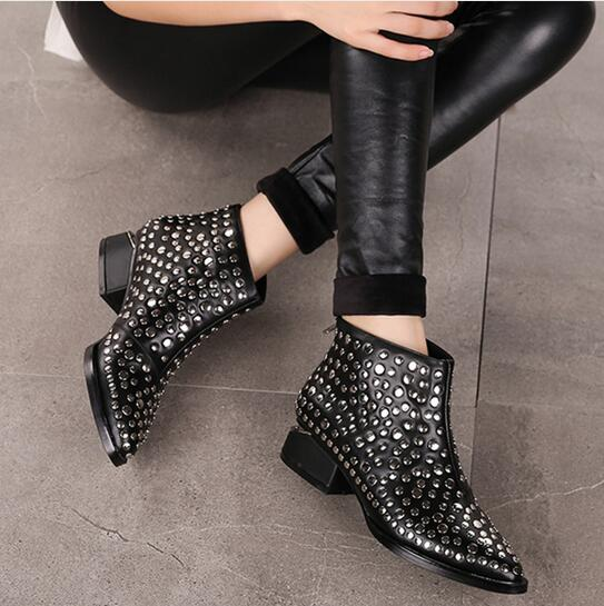 2017 Strange Low Heel Studded Boots Genuine Leather Women Ankle Booties European Design Shoes Pointed Toe Fashion Vintage Boots front lace up casual ankle boots autumn vintage brown new booties flat genuine leather suede shoes round toe fall female fashion