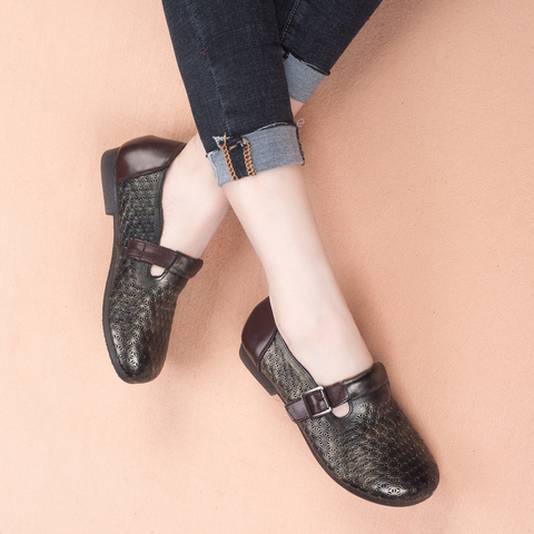 GKTINOO 2019 Autumn New Vintage Handmade Shoes Loafers Genuine Leather Flats Women Shoes Casual shoes Fashion Women Shoes Karachi