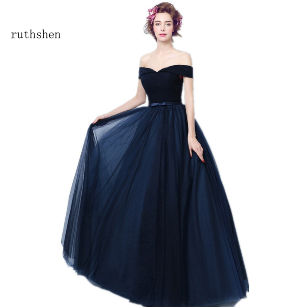 ruthshen 2019 Navy Blue Prom Dresses Off Shoulder Pleated Tulle Long Evening Gowns Cheap Elegant Formal