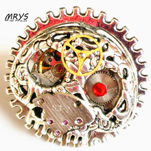 steampunk gothic skeleton skull ring one stainless steel adjustable ring watch parts men women boy girl antique vintage jewelry