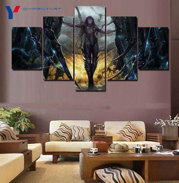 StarCraft 2 Heart of The Swarm Game Poster 5 Panels Art Painting Living Room Decoration A0096 4