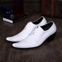 Western Zapatos White Wine Red Leather Luxury Brand Italian Shoes Man High Heels Mens Lace up Pointed Toe Dress Wedding Shoes