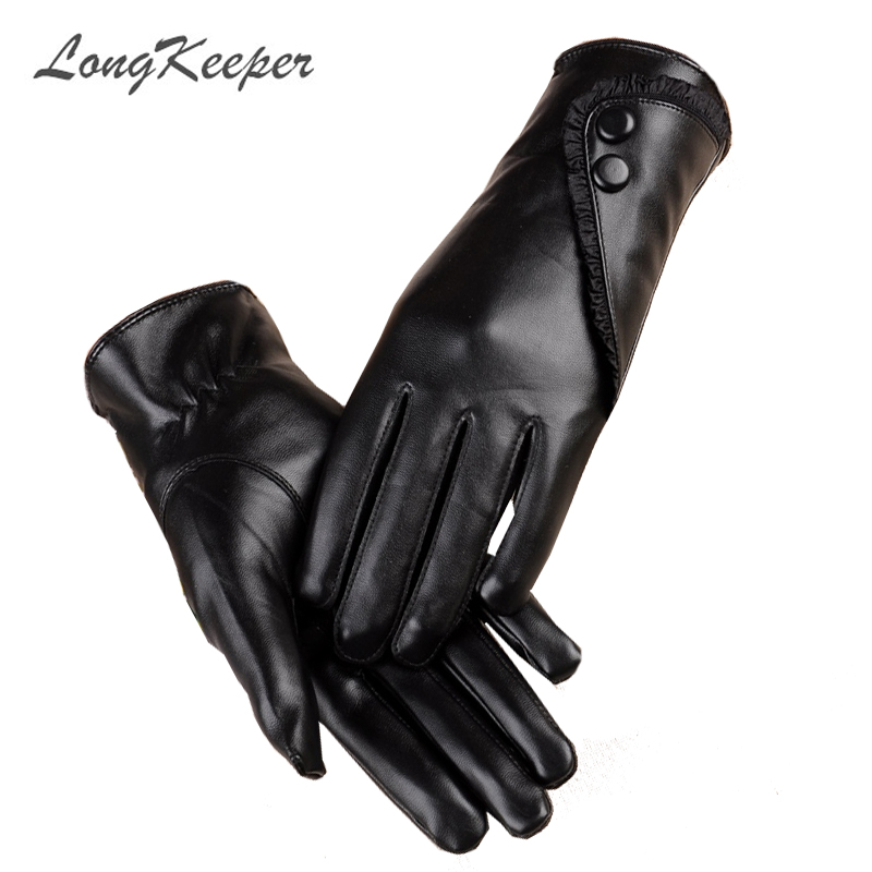 LongKeeper Touch Screen PU Leather Gloves Women Winter Mittens Warm Gloves For Woman Winter Glove guantes mujer European style