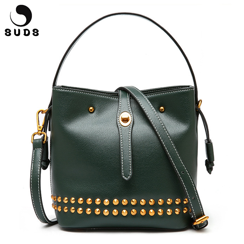 SUDS Brand Women Rivet Genuine Leather Bucket Bag Luxury Handbags Women Bags Designer Shoulder Bags Large Capacity Crossbody Bag pumping bucket bag rivet handbags mini bucket bag