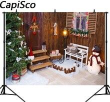 Inverno Capisco cenários de fotografia Lanterna Presente Do boneco de neve Árvore de Natal Caçoa o Presente Pinho Photocall de Fundos Para Estúdio de Fotografia