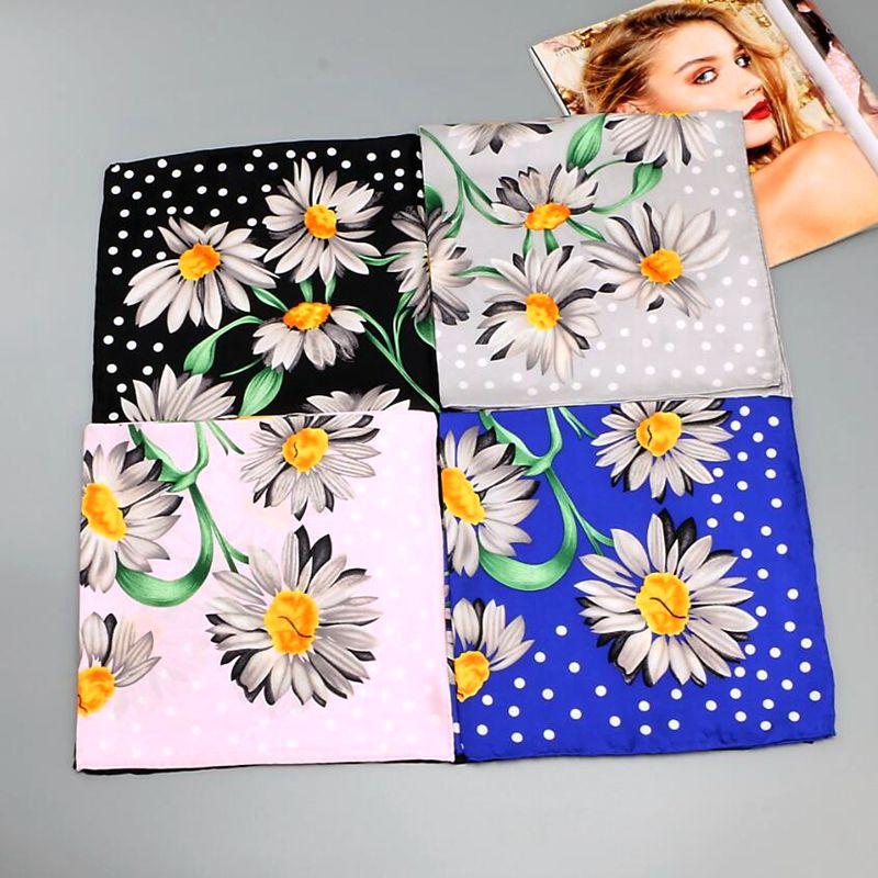 HANSCARF Flower Printed 100% Pure Silk   Scarf   ,Women Square Silk Twill   Scarves     Wraps   Necktie 55x55cm Accessory