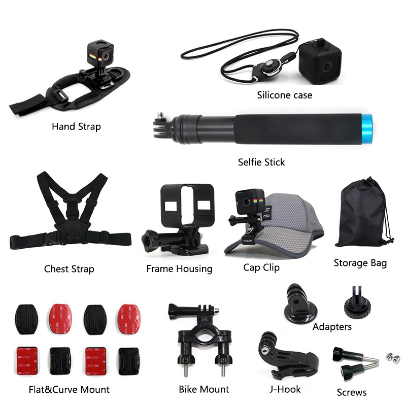 TELESIN 17 in 1 Accessory Kit Selfie Stick Hat Clip Hand Chest Strap Silicone Case Flat Curved Mounts for Polaroid Cube Cube+ цена