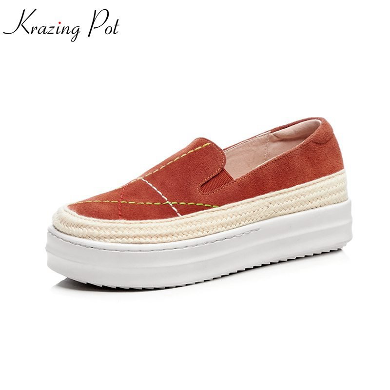 Krazing Pot new kid suede sewing round toe sneaker shoes classic simple style causal women thick bottom vulcanized shoes L7f1