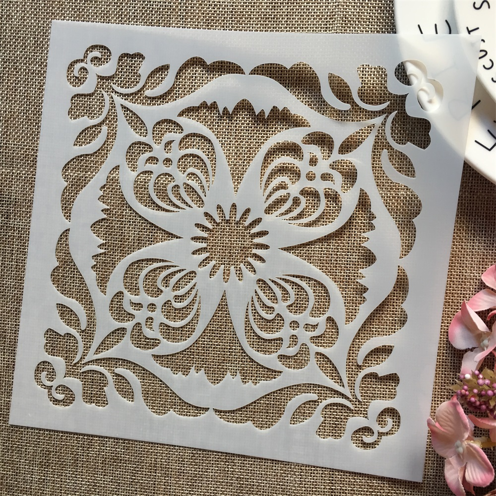 1Pcs 8*8inch Flower Round Frame DIY Layering Stencils Painting Scrapbook Coloring Embossing Album Decorative Template