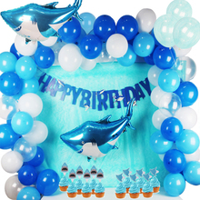 Shark Splash Party Decorations Kids Foil/Latex Balloons Blue/White Happy Birthday Banner For Supplies