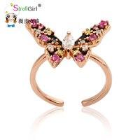 Strollgirl новый 925 Серебряное кольцо бабочка Регулируемый кольцо из розового золота Цветные кольца для Для женщин Обручение свадьбы 2017
