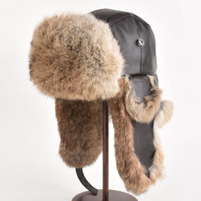 Winter Hat For Men Women Real Rabbit Fur Ear Cap Warm Winter Ski cap unisex Bomber Hat Russia Fur Hats Real leather To Keep Warm
