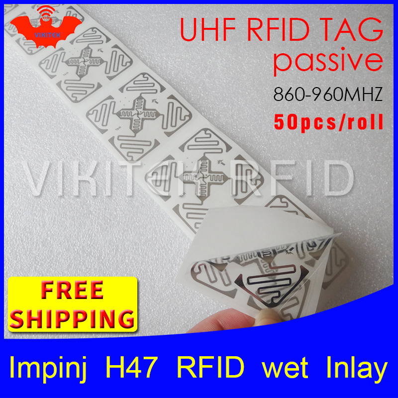RFID tag UHF sticker Impinj H47 wet inlay 915mhz868mhz 860-960MHZ Higgs3 EPC 6C 50pcs free shipping adhesive passive RFID label 915mhz long range passive uhf rfid tag inlay label for warehouse management