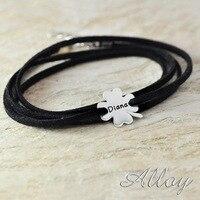 Custom Lucky Alloy Clover Bracelet Colorful Stack Chain Sport Bracelet For Men
