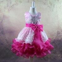 Muito bonito de boa qualidade verão Das Meninas dos meninos da Criança Grande arco laço vestido de princesa confortável bonito Roupa do bebê Roupa Das Crianças