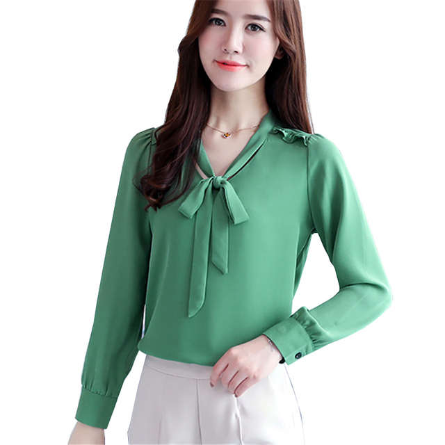 2284339bebd18 US $18.17 |2017 Autumn New Fashion Slim Bow Tie Shirt Women OL Career  Formal Long Sleeve Chiffon Blouse Office Ladies Plus Size Work Tops-in  Blouses & ...