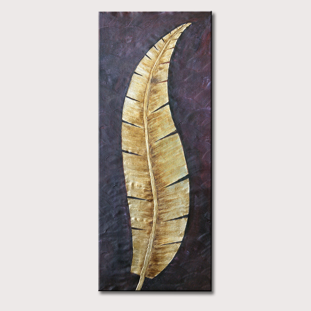 100 Original Handpainted Golden Leaves Modern Oil Painting On Canvas Wall Art Wall Pictures For Living