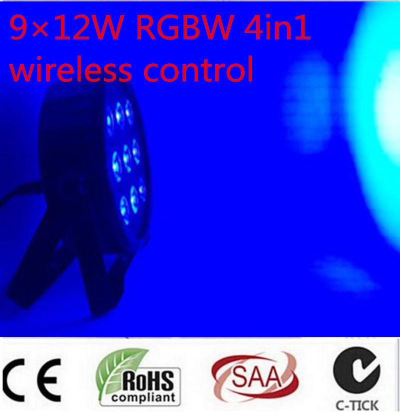 6pcs Wireless remote control LED Par CREE 9x12W 4in1 RGBW Led Stage Light LED Flat SlimPar Quad Can With DMX512 Flat DJ 8x lot hot rasha quad 7 10w rgba rgbw 4in1 dmx512 led flat par light non wireless led par can for stage dj club party