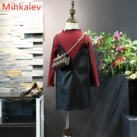 Mihkalev 2017 autumn kids clothes girls set for children clothing long sleeve tops and sling dress girl princess tracksuits girls europe and the united states children s wear red princess long sleeve princess dress child kids clothing red bow lace