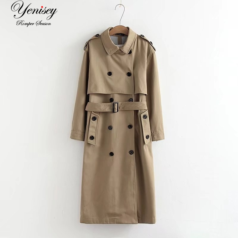 Jacket Trench-Coat Windbreaker Female Wind-Long Fashion Women Double-Breasted