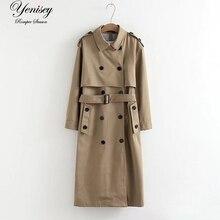 Женский Тренч, модная куртка, длинное пальто, модный длинный двубортный Тренч, Женский Тренч, ветровка для женщин, минимальный размер