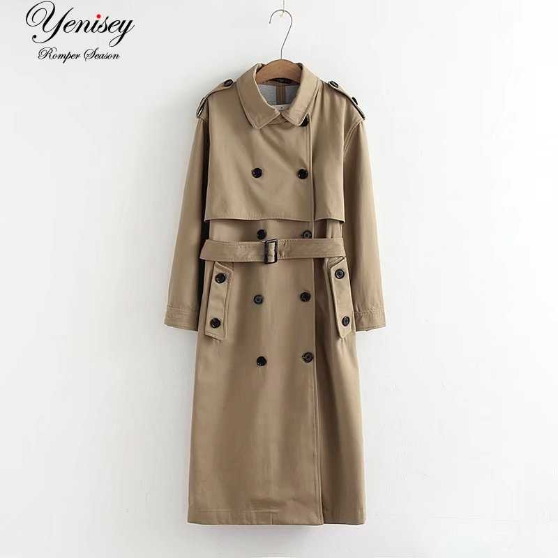 Wanita Trench Jaket Fashion Panjang Mantel Fashion Angin Panjang Double Berkancing Parit Mantel Wanita Mantel Jaket Wanita Minimal