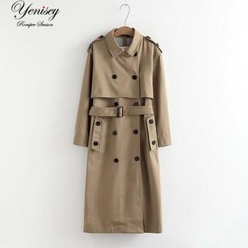 Kobiety Trench modna kurtka długi płaszcz moda wiatr długi podwójny breasted trencz kobiety trencz wiatrówka kobiet minimal