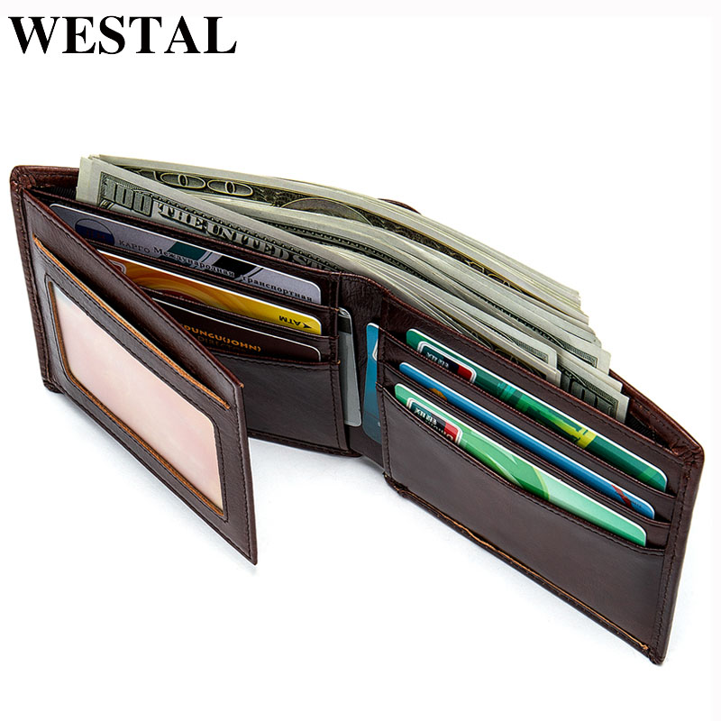 WESTAL Wallet Male Genuine Leather Coin Pocket Purse Men's Clutch Bag Credit Card Holder Slim Fold Hidden Money Bag For Men 7608