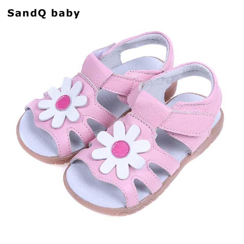 Дівчата Сандалії 2019 Літні Натуральна шкіра Дитячі сандалі для дівчаток Квітка дитяча взуття М'які шкіряні дівчата Принцеса взуття