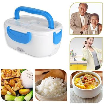 12V Portable Electric Heating Lunch Box Food Heater Container with Spoon Bento Food Warmer for Car Travel Camping image