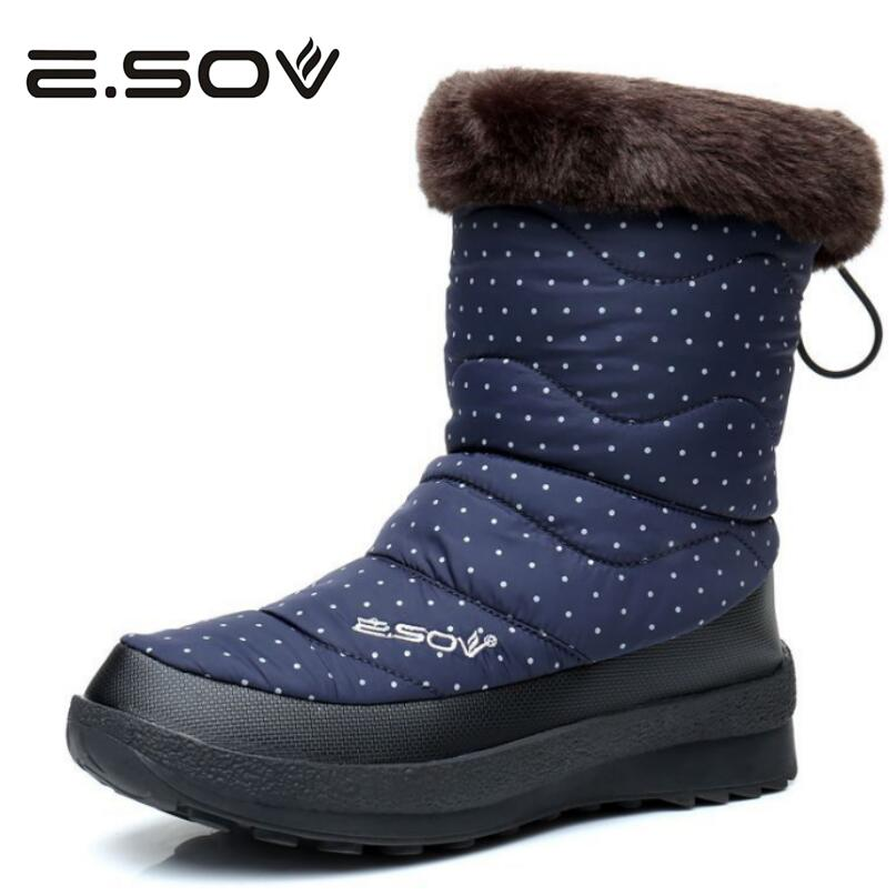 Esov 2017 Women Boots Russia Polka Dot Waterproof Platform Fur Female Warm Mid-Calf Boots Snow Boot Woman Winter Women Shoes wellies polka dot breathable belt single shoes wading mid calf fashion gum canister rain womens boots women colorful antiskid
