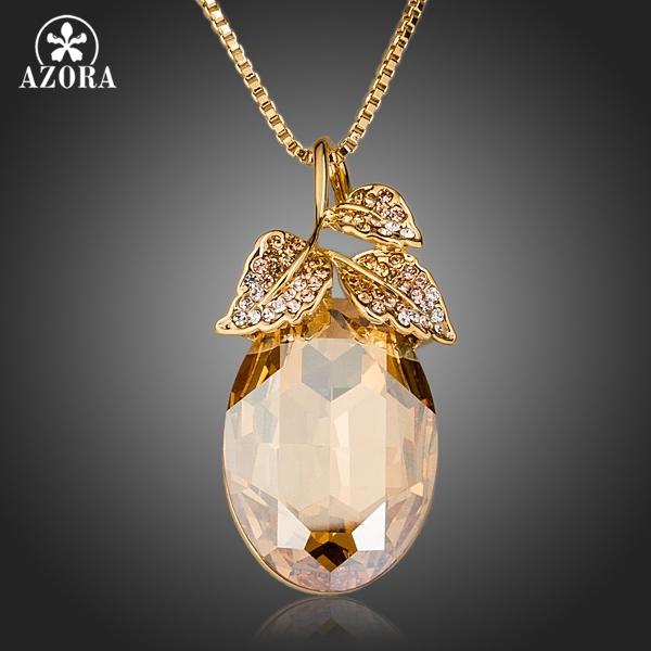 AZORA Pear Cut Banhado A Ouro Stellux Cristal Austríaco Deixa Pingente Colar TN0136