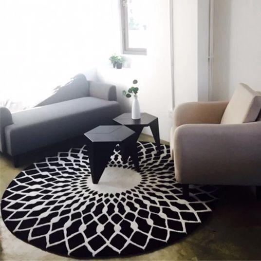 Nordic Простые Модные Черный и белый цвета круговой Коврик Гостиная чайный столик ковер спальня исследование клуб модель ковер