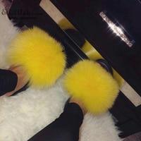 ETHEL ANDERSON Womens Real Fox Raccoon Fur Slippers Slides Summer Beach Flip Flops Casual Cute Fur Sandals Plush Shoes