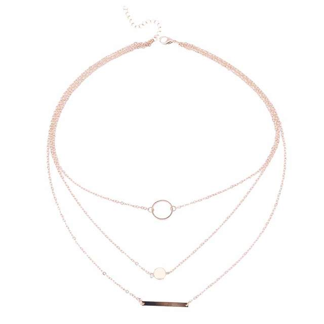 FAMSHIN 2017 New Fashion Wild Aperture Metal Rods Necklace Gold Silver Layered Necklace For Women Charm Gift 5