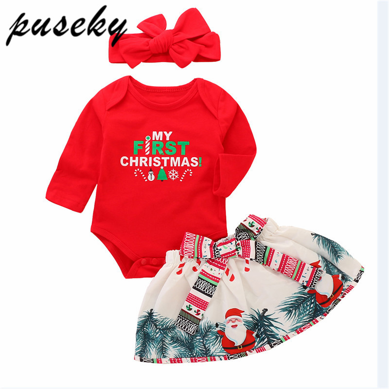 Puseky My First Christmas Newborn Baby Girl Long Sleeve Cotton Bodysuit Tops+Santa Skirt Headbands 3PCS Outfits Xmas Clothing цены
