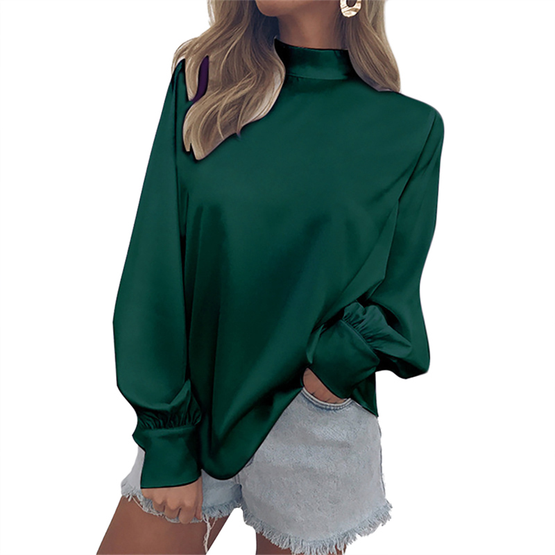 Europe and the United States Long Lantern Sleeve Turtleneck Chiffon Women Tops And Blouses Solid Temperament Blouse Shirt Female