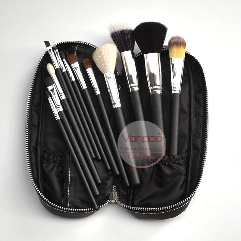 12 Pcs Makeup Brushes Cosmetics Set With PU Bag Make Up Brush Set Free Shipping