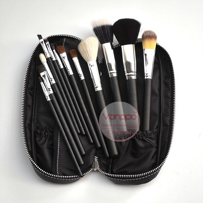 12 unids cosmética Cepillos cosméticos conjunto con la bolsa de la PU maquillaje Cepillos set envío libre