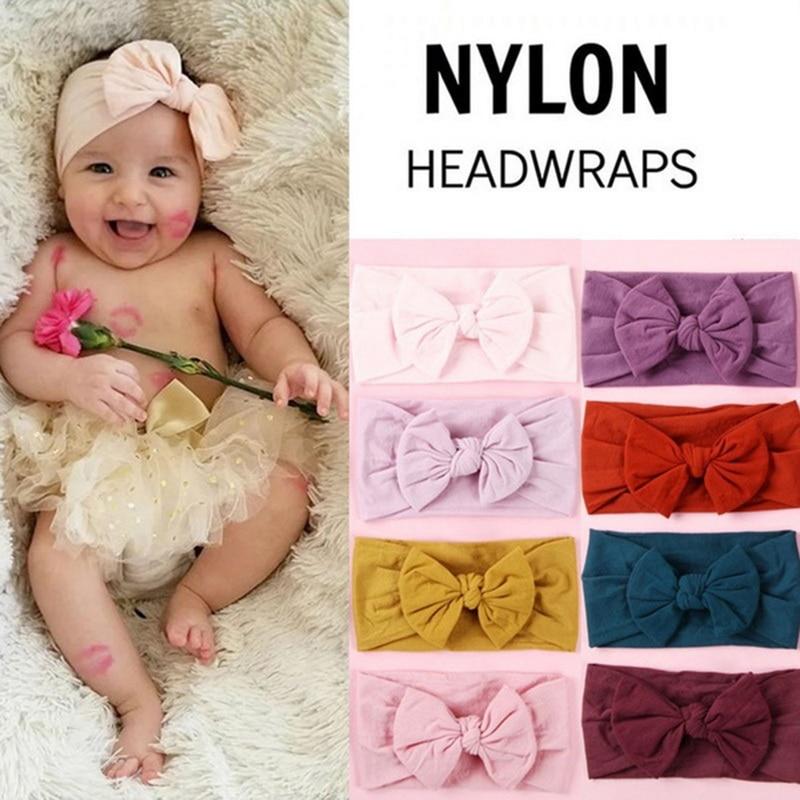 Girls Baby Big Bow Headband Toddler Kids Elastic Knotted Nylon Hairband Turban