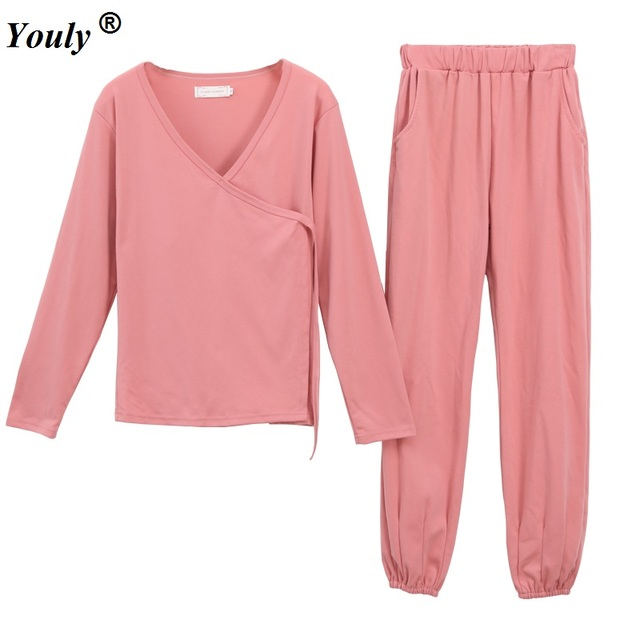 2436c77ff956 Robes trousers 2 two pieces Pajamas Sets Women Spring long Sleeve Cartoon  Cute Home Sleepwear Pajamas Mujer Nightgown Wear Suits