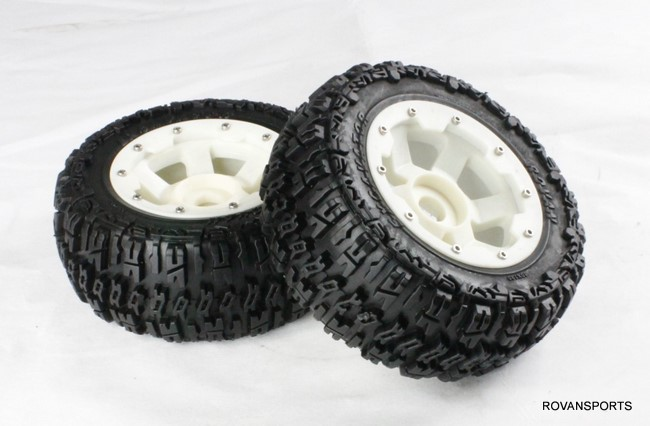 baja rear knobby tire set for 5T truck with high strength nylon hub 95072 5b high strength nylon rear macadam wheels set for baja parts free shipping