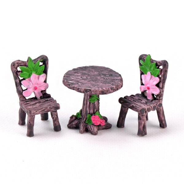 3 шт./компл. стол стул из смолы ремесло микро Пейзаж орнамент Сказочный Сад, миниатюра фигурка для террариума бонсай украшения