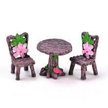 3 pçs/set Cadeira Mesa de Artesanato Resina Micro Paisagem Terrário Ornamento Do Jardim de Fadas Em Miniatura Estatueta Decoração Bonsai