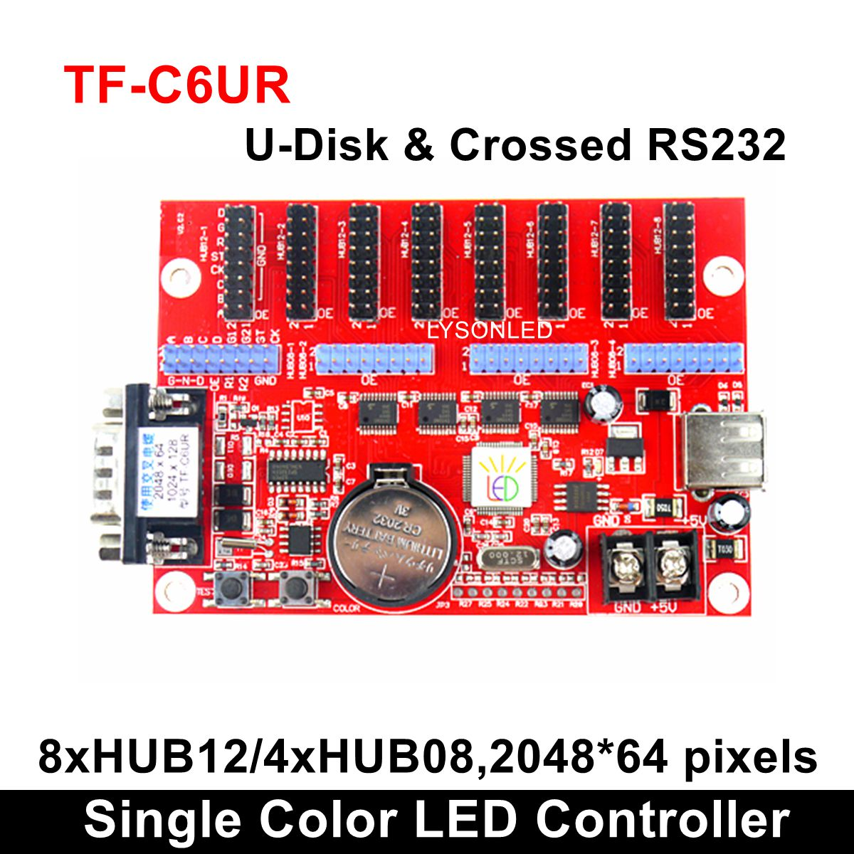 TF-C6UR Single Color Led Display Controller,P4.75 P 7.62 P10 Monochrome & Dual Color Led Display Card For Digital Message Board