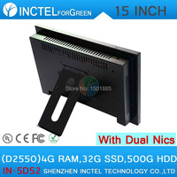 Cheapest 15 Inch All In One LED Panel PC Computers With Touchscreen Dual 1000Mbps Nics 4G