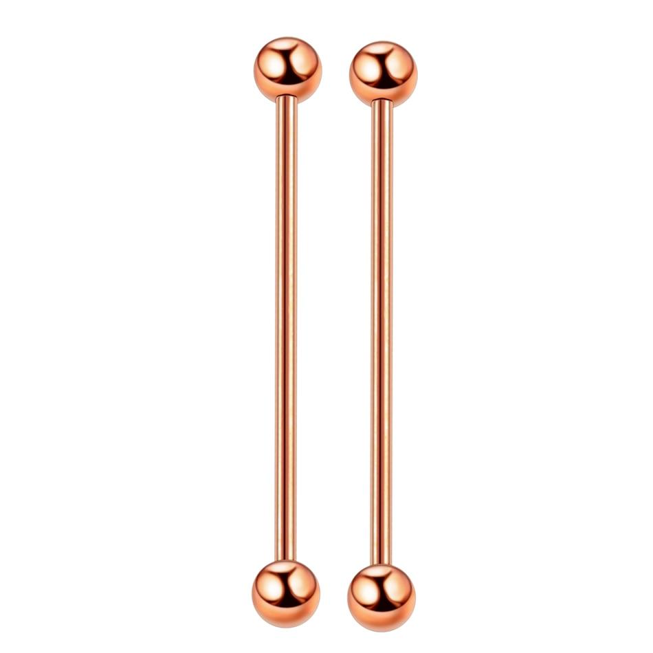 2pc Steel Piercing Industrial Earring Piercing Industrial Barbells Bar Scaffold Ear Cartilage Helix 14G Silver Gold Body Jewelry in Body Jewelry from Jewelry Accessories