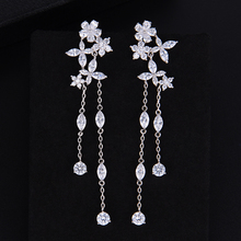 SisCathy Trendy Long Chain Party Wedding Earrings  for Women Elegant Luxury Cubic Zirconia Flower Fashion Jewelry 2019