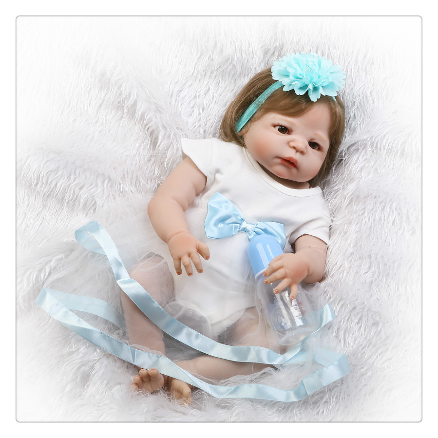 все цены на 22Inch Realistic Reborn Dolls Baby Soft Silicone Doll Reborn Full Vinyl Boneca Reborn Doll For Girls онлайн