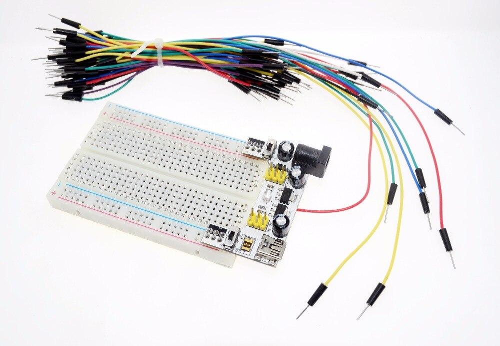 Модуль питания макетной платы MB102 3,3 В/5 В + набор для хлеба без твердости с 400 точками + 65 гибких перемычек
